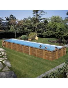 Pool 1210x418x146 cm (Echtholz in französischer Kiefer, Handlauf, Streben, Schutzkappen, Stützkonstruktion, Innenfolie